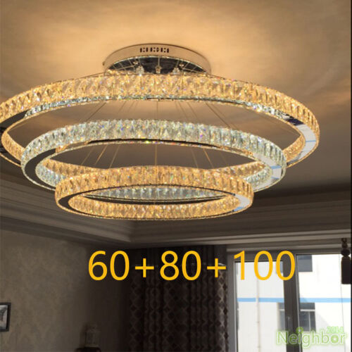 Modern Crystal Round Ring LED Pendant Lamp Suspension Hanging lights Chandelier