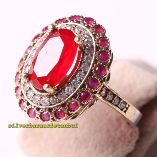 Details about  /Turkish Luxury 925 Sterling Silver Oval Red Ruby Stone Ladies Womans Ring