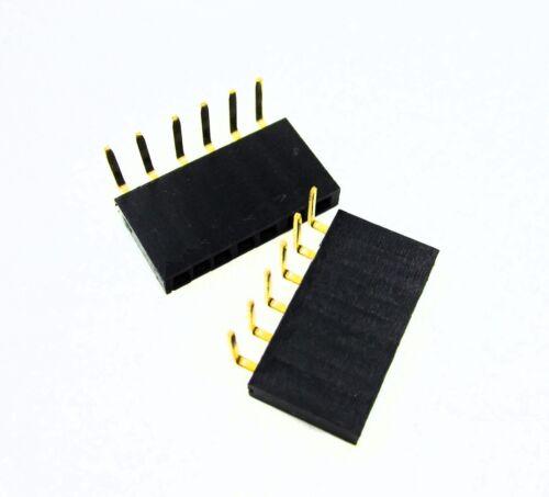 50 PCS 1x6 Pin 2.54mm Right Angle Single Row Female Pin Header Connector