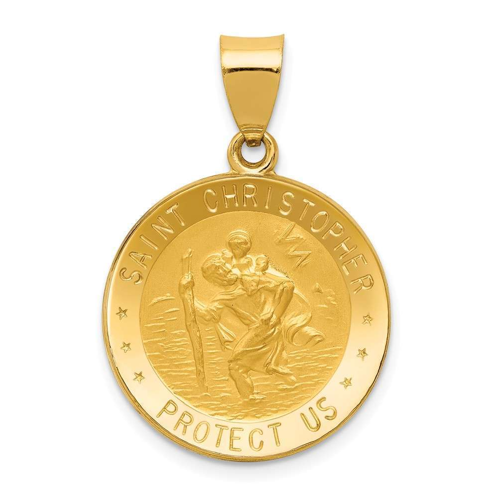 14K Yellow gold Polished & Satin St. Christopher Medal Pendant XR1299