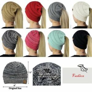 Women BeanieTail Messy High Bun Winter Warm Fleece Pony Tail Hat Knit Cap