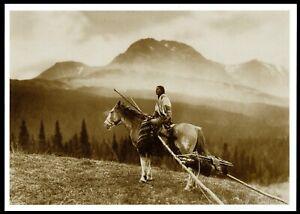 852-Postcard-Woman-w-Travois-Native-American-Blackfoot-Indian-1915-Reed-Photo