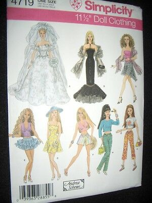 Barbie Doll New Simplicity 4719 Pattern Wedding Dress Gown Skirt Tops Pants