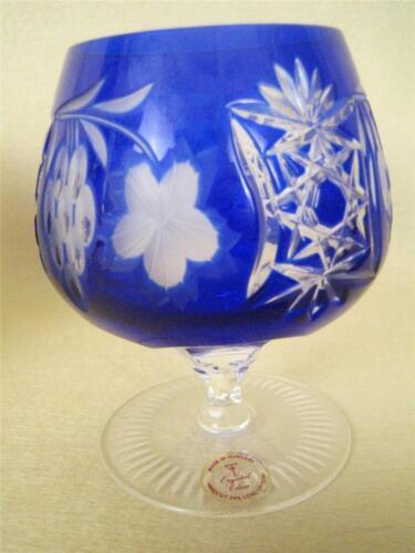 AJKA MARSALA Cut to Clear Cobalt Blue Crystal Brandy Snifter Glass