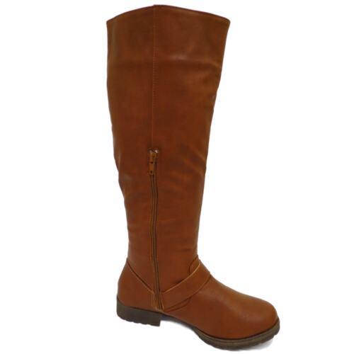 LADIES BROWN KNEE-HIGH LOW HEEL RIDING ZIP-UP CALF WINTER FLAT TALL BOOTS UK 4-9