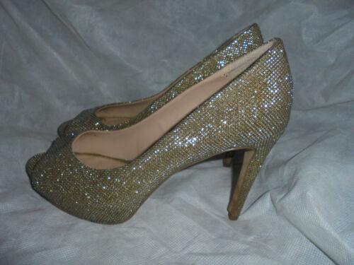 Peep 5 38 Toe Textile Sparkling Size Gold Uk Shoes Vgc Eu Carvela Women's qwBxCOzIx