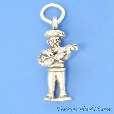 925 Sterling Silver Rock Star Guitar Player Charm Made in USA