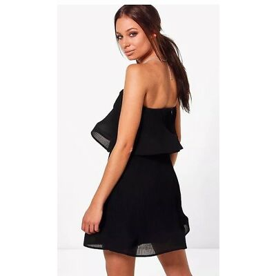 BNWT BOOHOO NIGHT Gayna Pleated Off Shoulder Skater Dress Size 10