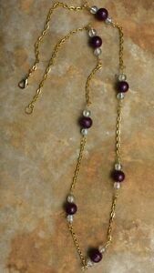 Handmade beaded necklace, Maroon and clear glass beads
