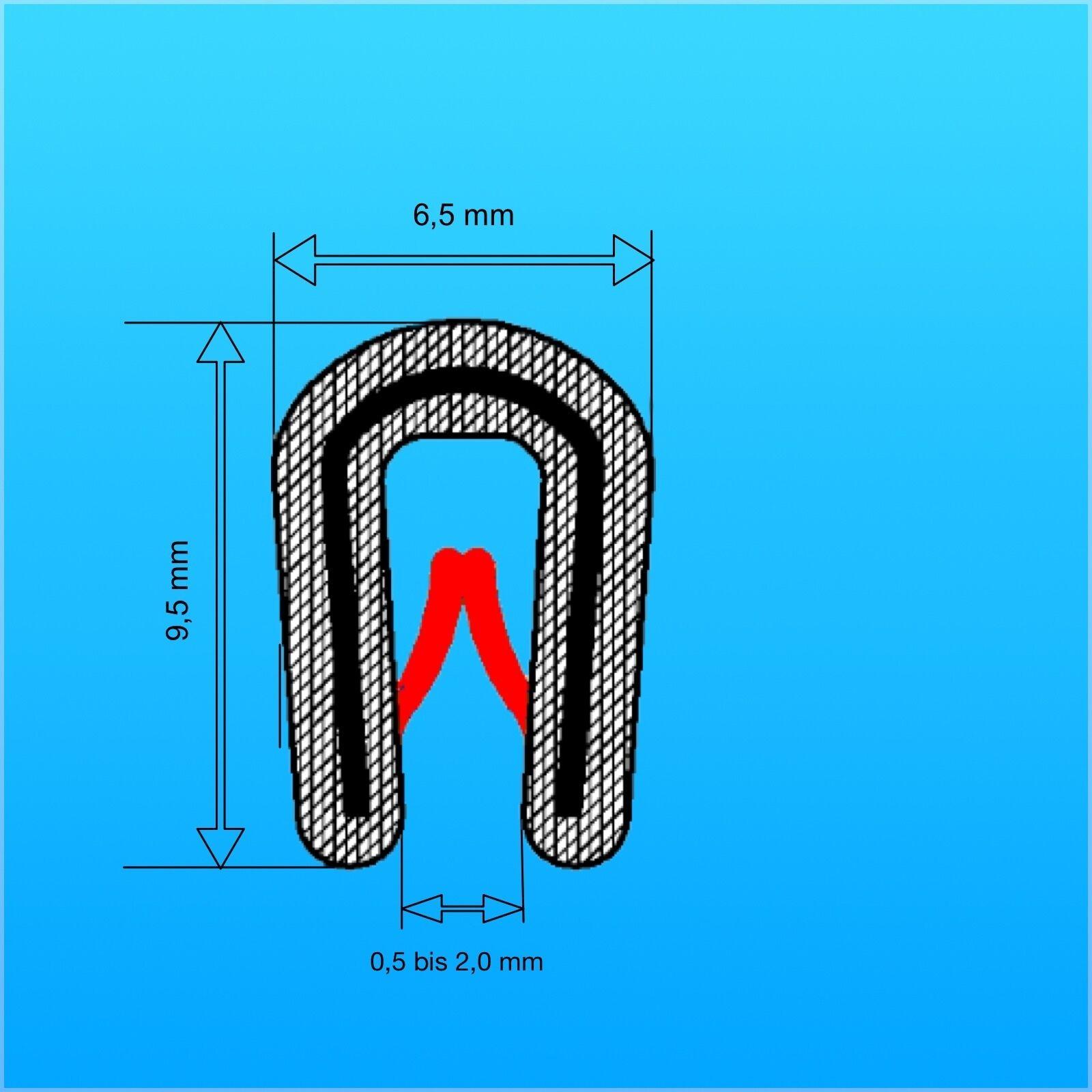 100 m Kantenschutzprofil flexibel schwarz Klemmbereich 1,0-2,0 mm