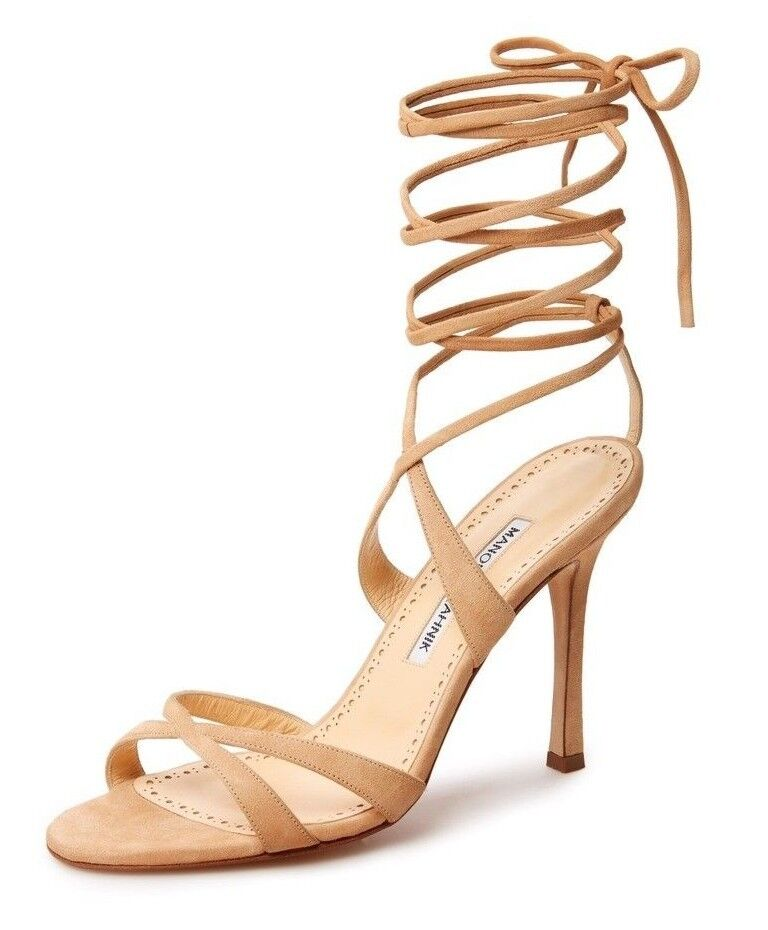 745 NEW Manolo Blahnik CRISS 105 Suede NUDE Beige Sandals shoes 36 39 40 40.5