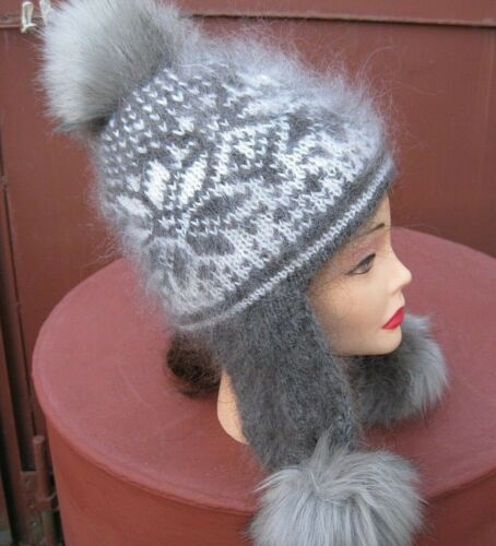 Femme Chapeau Bonnet Shapka chèvre Down handknitted russe Ushanka Craft Fuzzy