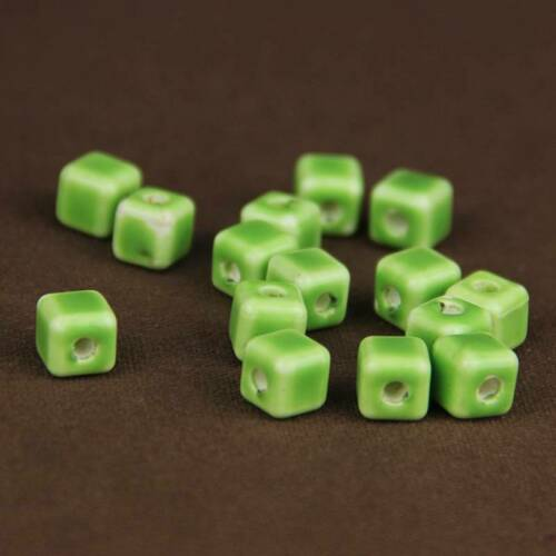 10pcs 8mm Cube Ceramic Porcelain Loose Craft Beads Charms For Jewelry Making DIY