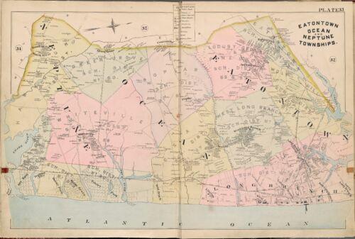 1889 EATONTOWN OCEAN & NEPTUNE TWPs, MONMOUTH COUNTY, NEW JERSEY ATLAS MAP