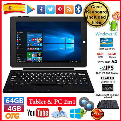 "10,1"" CHUWI Hi10 PC Tableta 4GB+64GB Win10 Android 5.1 Tablet PAD +Funda Teclado"