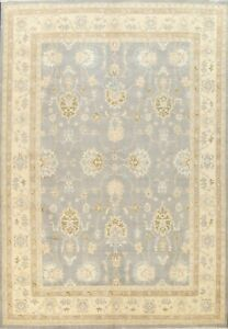 Vegetable Dye Muted Floral Oushak-Chobi Oriental Area Rug Wool Hand-knotted 9x12