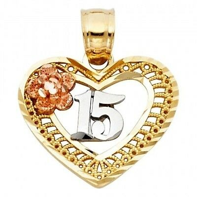 Sterling Silver Quinceanera Sweet 15 Heart-Shaped Charm 7//8 inch Tall