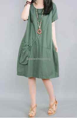 Korean Womens Casual Summer Solid Loose Cotton Linen Sundress Shirt Tunic Dress
