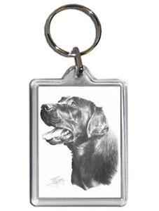 Mike Sibley Black Labrador 2 Quality Acrylic Keyring 50mm x35mm - Dog Lover Gift