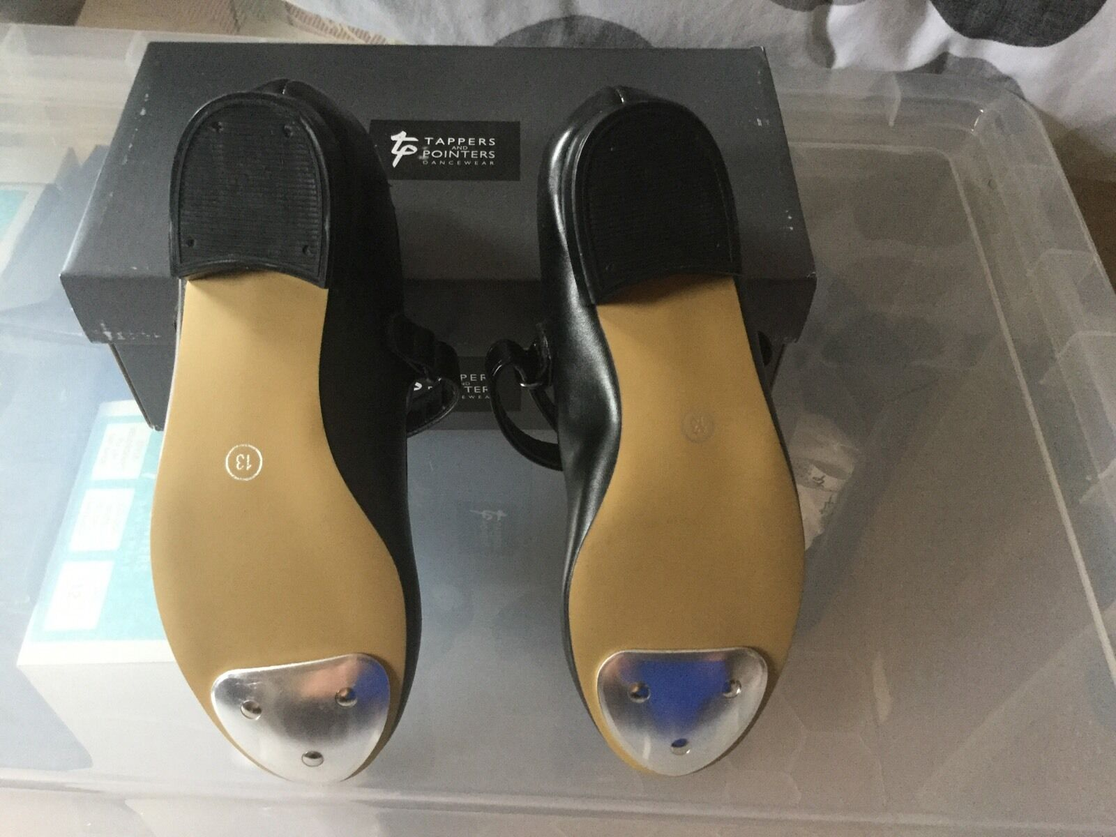 Tap Dancing Shoes For Girls Black Basic Toe Tap Easy Fastening Size 5 Small BNIB