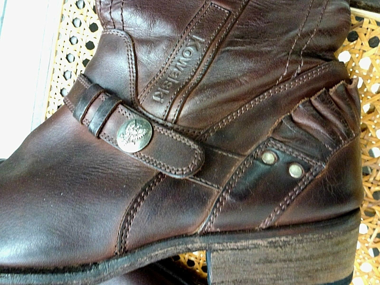 NEU* 42 *Kowalski*Herren Stiefel Boots Western Biker Schuh,USA Fans,Cognac Braun