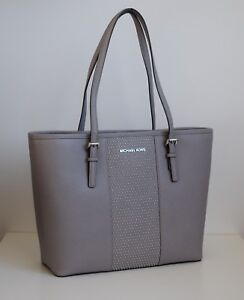 MICHAEL-KORS-Damen-Tasche-JET-SET-TRAVEL-SM-CARRYALL-TOTE-Leder-pearl-grey