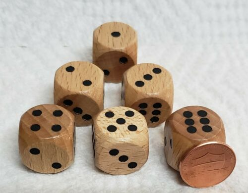 Natural Wood w//Black Pips A Wee Bit Larger Than Usual Size Wood Dice 18mm