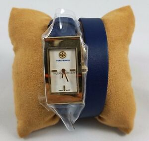 Tory-Burch-Buddy-Signature-Gold-Watch-double-wrap-Navy-Leather-Gold-Tone
