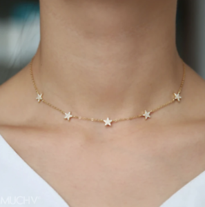 18ct-Gold-Yellow-Star-Choker-or-Necklace-Gold-Choker-925-Sterling-Silver-Star