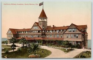 Santa-Monica-CA-Circle-Drive-to-Entrance-Military-Academy-Arcadia-Bldg-c1910