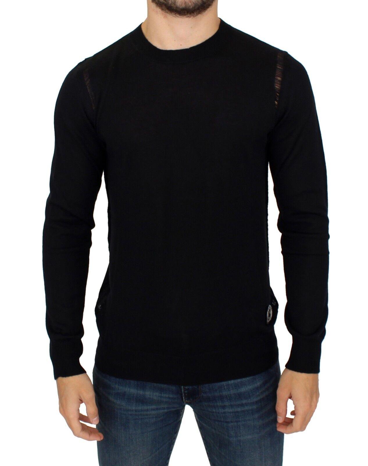 Nuovo Karl Lagerfeld Nero Misto Lana Logo collo Tondo Maglione Pullover S. XL
