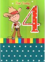 Boys 4th Birthday 3D  4 Four Today Card Childrens Kids Quality Greeting Cards