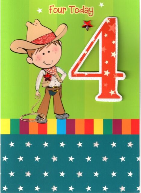 Cowboy Theme Age 4 4th Happy Birthday Greetings Cards Best Wishes