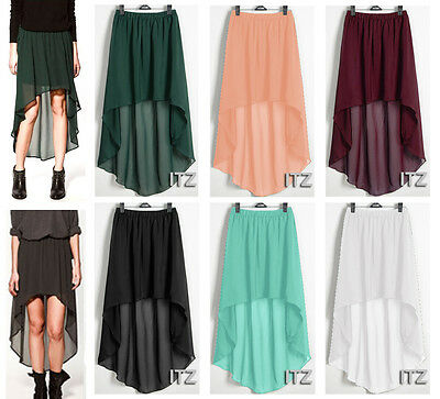 Sexy Women Chiffon Pleated Retro Long Asym Dress Elastic Waist Skirt High Low