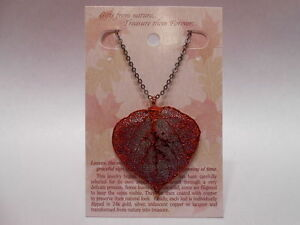 Real-Leaf-Metal-Filigree-Necklace-Copper-Iridescent-Aspen-Pendant-w-20-034-Chain