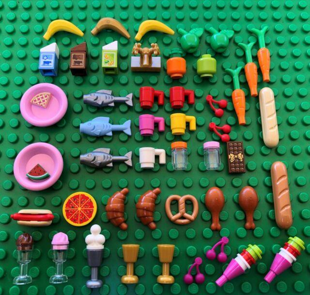 Lego FOOD 3 Friends City Banana Carrot Fish Fruit Bread Milk Pretzel Sausage Tap