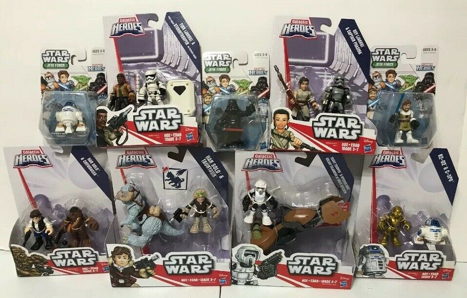 Star Wars Playskool Galactic Heroes C-3PO R2-D2 Stormtrooper Han Lot Of 9 NIB