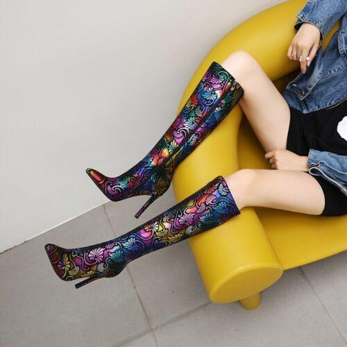 Details about  /Elegant Women Floral Print Pointy Toe Stilettos High Heel Knee High Boots Club L