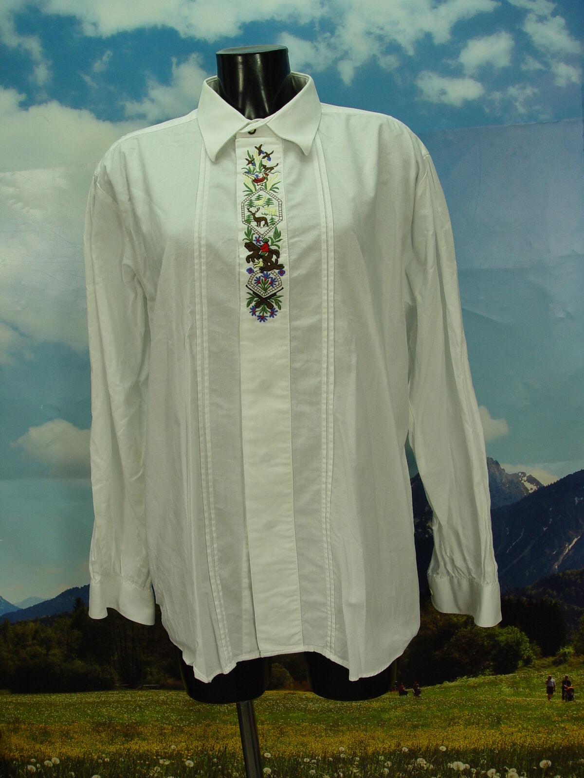 Gr.XL Trachtenhemd Alphorn Trachten Hemd mit Jagdmotiv Stickerei TH506