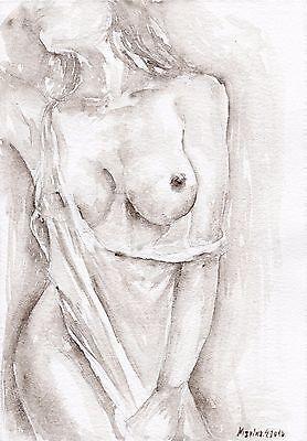 NUDE MODEL #14 Original watercolor portrait painting erotic sex beauty teen art