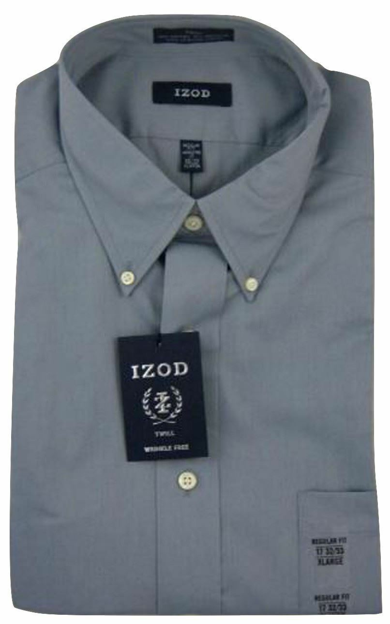 Pewter Twill Button-Down Collar