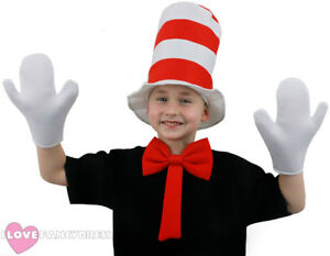 CHILD-CRAZY-CAT-HAT-FANCY-DRESS-WHITE-GLOVES-  sc 1 st  eBay & CHILD CRAZY CAT HAT FANCY DRESS WHITE GLOVES BOW TIE SCHOOL BOOK ...