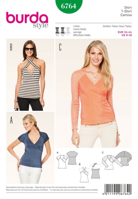Burda Sewing Pattern Ladies Tops Shirts Blouses Size 8 18 6764 Ebay