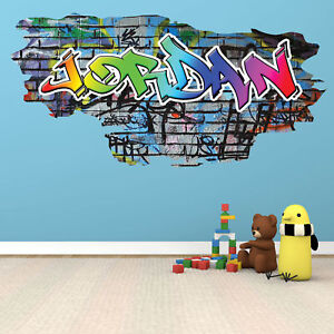 Image is loading PERSONALIZED-GRAFFITI-CUSTOM-NAME-WALL-ART-STICKER-DECAL-  sc 1 st  eBay & PERSONALIZED GRAFFITI CUSTOM NAME WALL ART STICKER DECAL MURAL ...