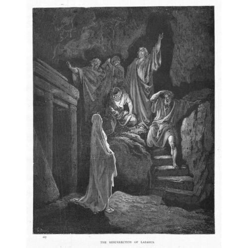 Antique Bible Print c1880 THE RESURRECTION OF LAZARUS Gustave Dore