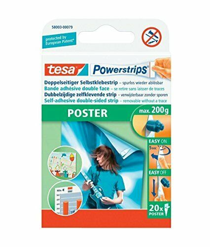 Pack of 20 tesa UK Powerstrips Poster Double-Sided Removable Strips