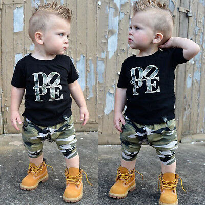 Summer Newborn Baby Boys Letter Tops T-shirt Camo Long Pants Outfits Set Clothes