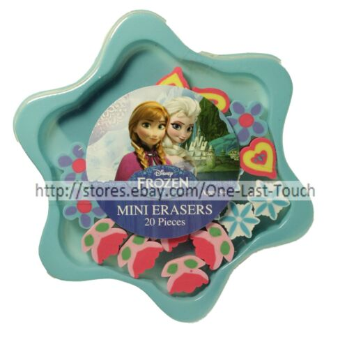 DISNEY 20pc Mini Erasers FROZEN Snowflakes+Flowers+Hearts ELSA+ANNA Gift Set!