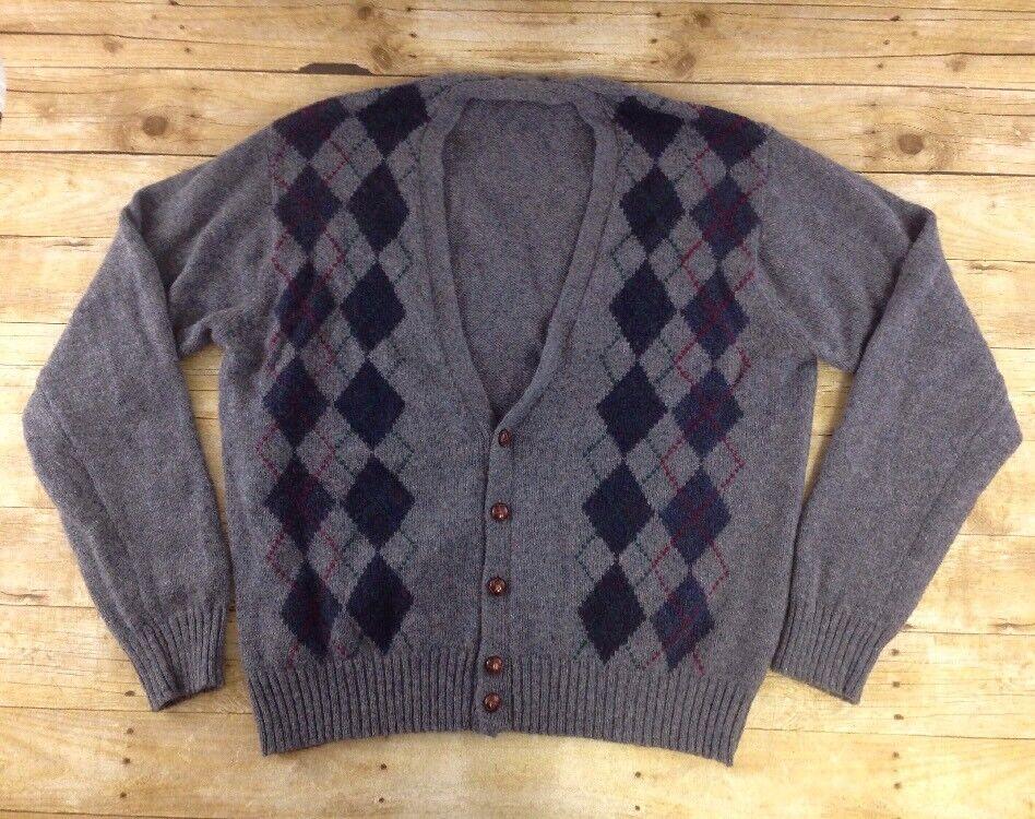 Vtg Par Four Cardigan Sweater Mens 2XB 50-52 Wool Blend Argyle 5 Button