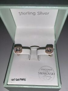 Details About Kiera Couture Rose Gold 14kt Over Sterling Silver Swarovski Zirconia Earrings